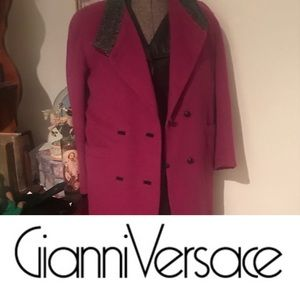 Versace 80's #viola Alpaca Wool black leather Accented prince trench coat rare